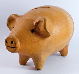 Cost of bad content represented by a piggy bank