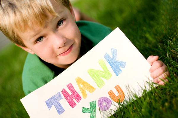 boy saying thank you