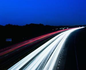 Time-elapsed photo of traffic representing marketing future