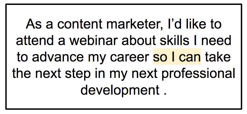 marketing user story example
