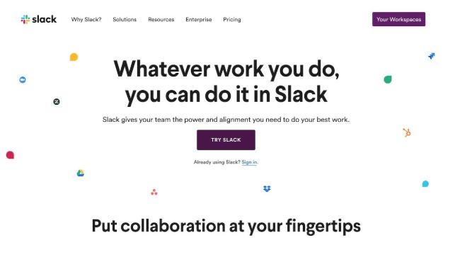 slack home page