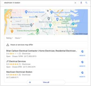 Google 3-pack screenshot