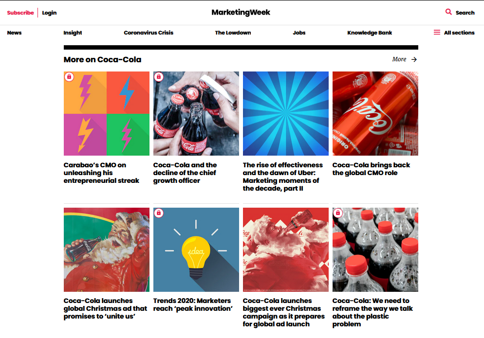 coca cola on marketingweek
