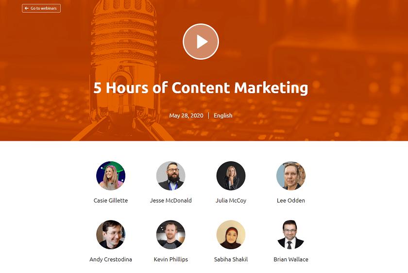 semrush 5 hour webinar content marketing
