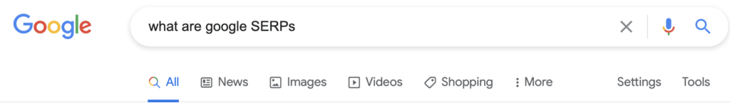 Googler search for what are google SERPs