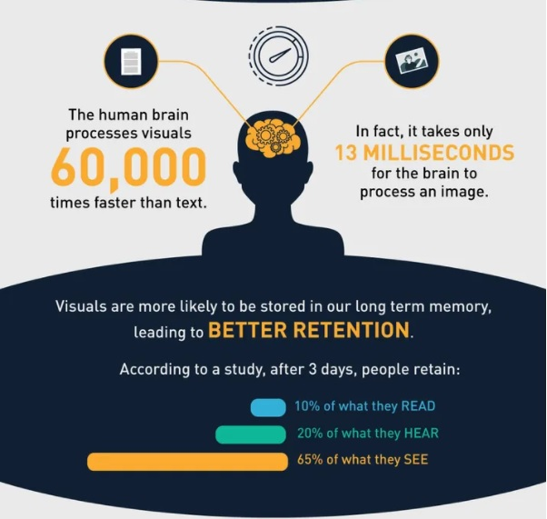 An infographic with statistics on visual learning.