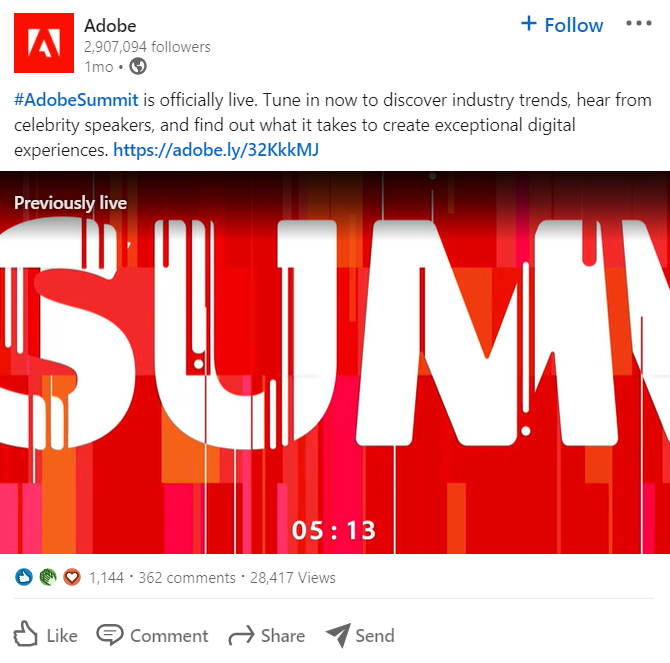Adobe LinkedIn status update example