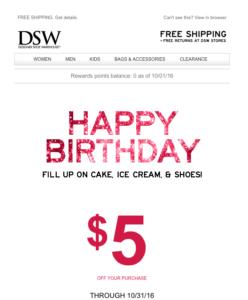 DSW Birthday Email