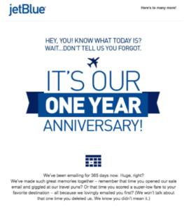 JetBlue Anniversary Email