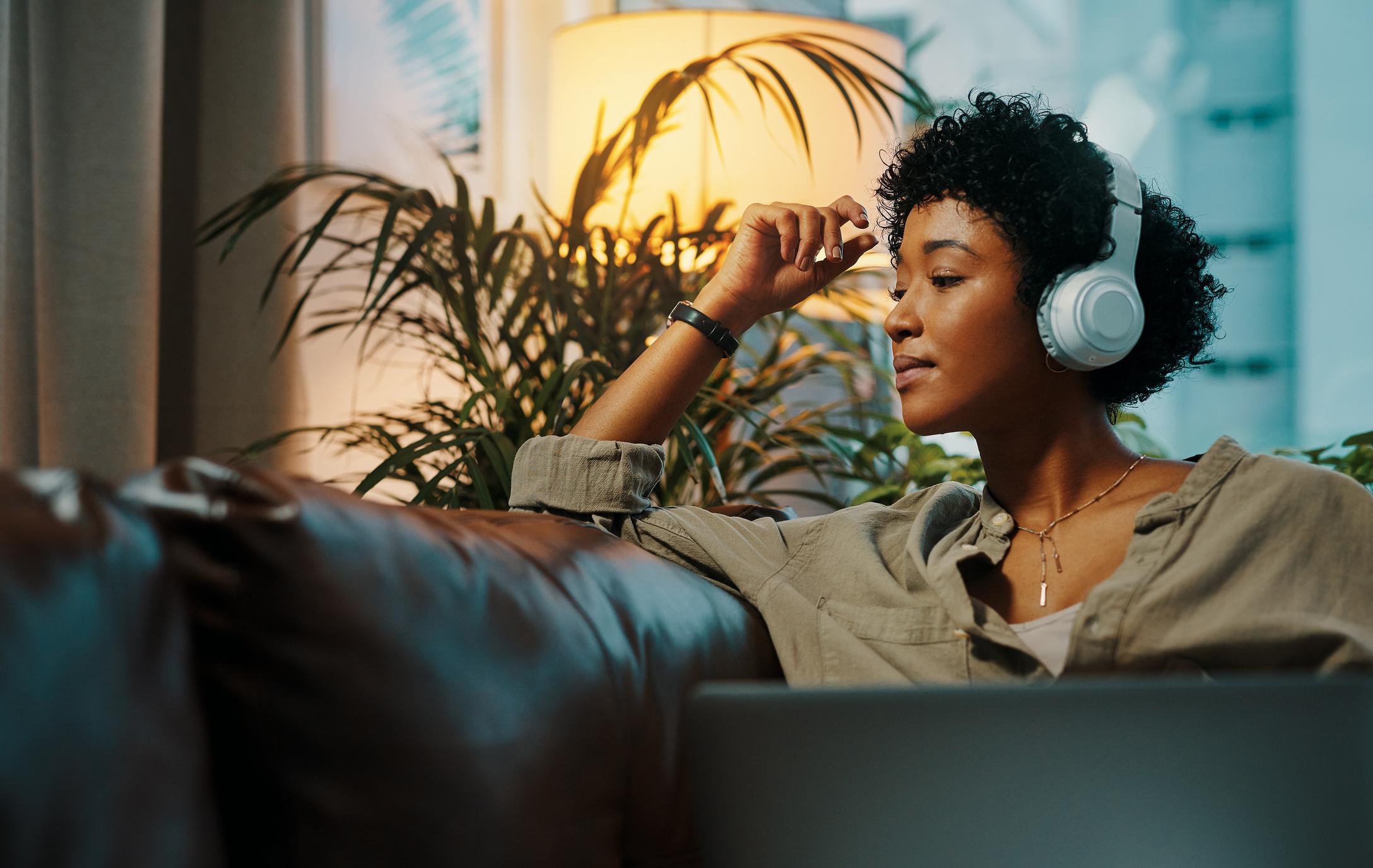 hip woman listening to audio marketing
